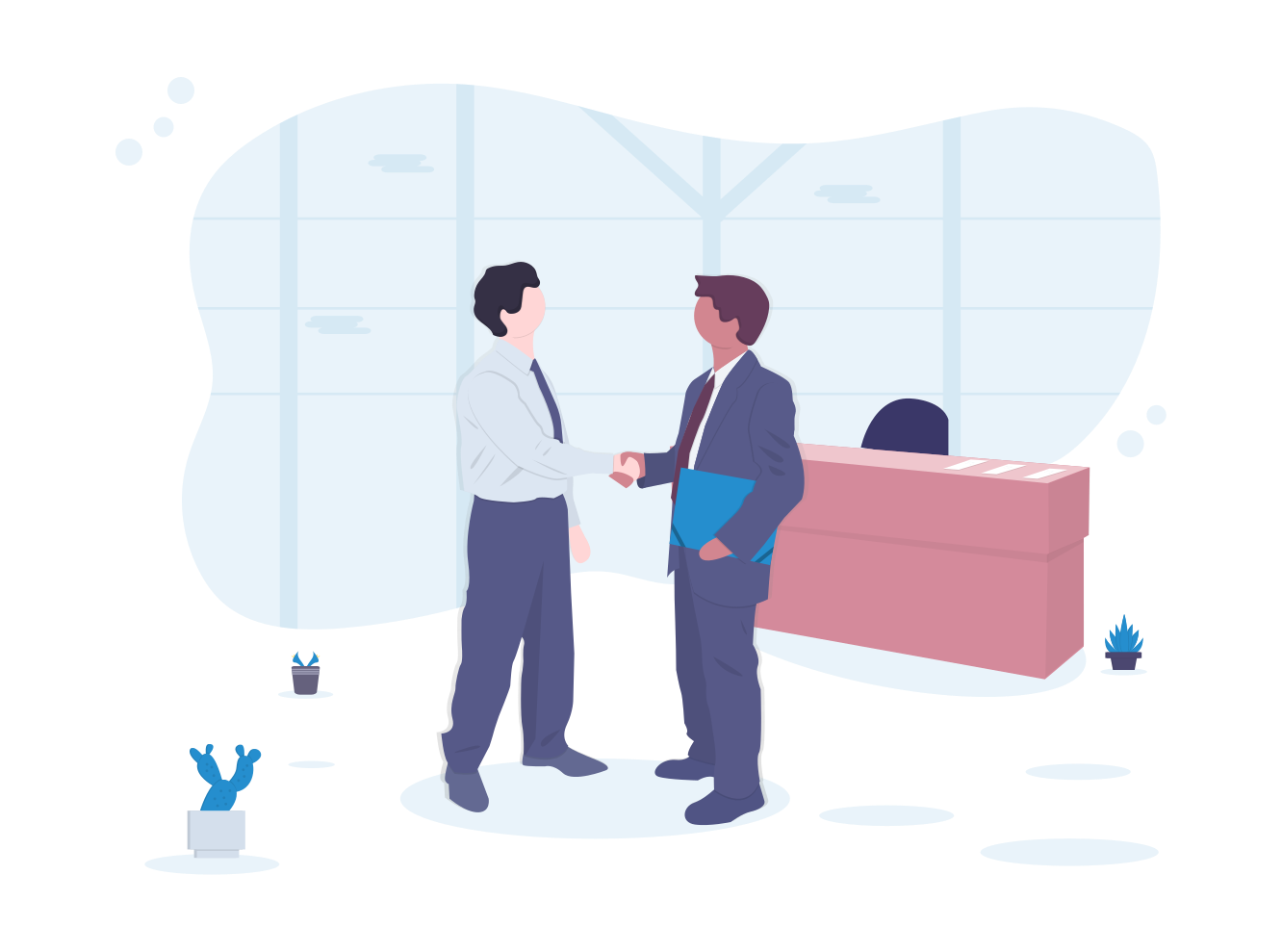 Illustration of a sales and marketing team discussing a ticket management software