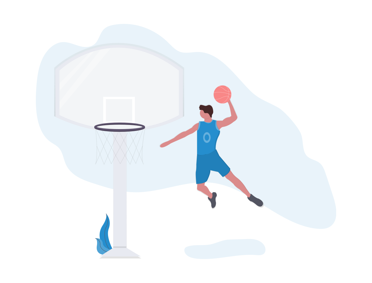 An illustration of a basketball player, just one of the events ticket management software can gain you